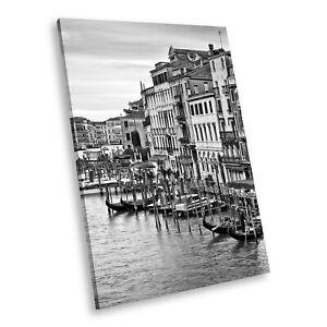 SC560 Black White Portrait Canvas Picture Print Wall Art Venice Sunrise Italy