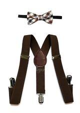 Dark Brown Suspender and Bow Tie Set for Baby Toddler Kids Boys Girls (USA)