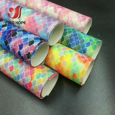 Shiny Iridescent Mermaid Scales Vinyl Faux leather Jelly faux leather sheets vegan  leather  for errings hair bows purse wallet