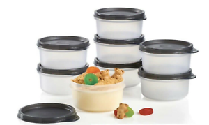 Tupperware Serving Cup Clear with Black Seals 8 oz Set of 4 NEW