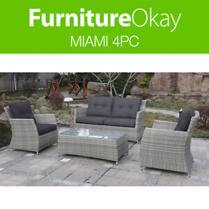 Etonnant Image Is Loading Miami 4pc Outdoor Garden Lounge Sofa Mixed Grey