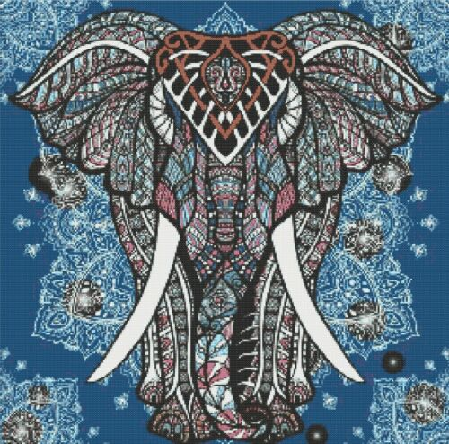 COUNTED CROSS STITCH CHART INDIAN ELEPHANT # 2