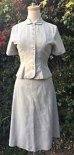 Vintage 1940s Two-Piece Dress Grey/White Seersucker