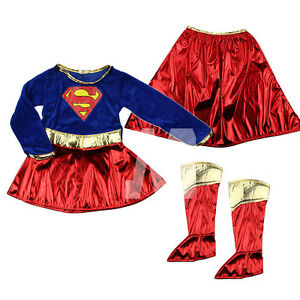 Kid-Girls-Fancy-Dress-Superhero-Supergirl-Costume-Party-Outfit-Cover-Book-Day