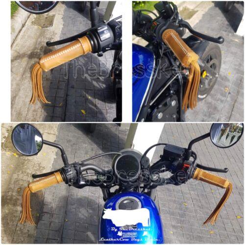 Motorcycle Handlebar Grip Fringe Tassel Genuine Leather for HONDA CMX300 CMX500
