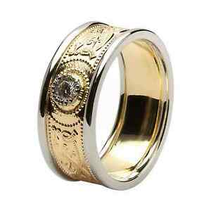 10k Gold Irish Handcrafted Irish Celtic Warrior Wedding Ring Diamond Inset 6mm