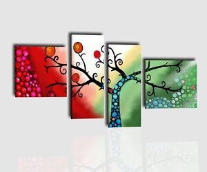 Quadri moderni componibili albero dipinti a mano su tela for Quadri componibili moderni