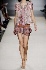 "ISABEL MARANT Mainline ""Silea"" Smocked Mini Skirt SZ 42 Paisley Ruffle Tier RARE"