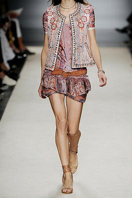 """Active Isabel Marant Mainline """"silea"""" Smocked Mini Skirt Sz 40 Paisley Ruffle Tier Rare Clothing, Shoes & Accessories"""