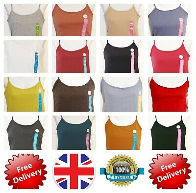PRIMARK Ladies Girls Stretch Cami Vest Strap Camisole Top Sizes 4-24 Grey New