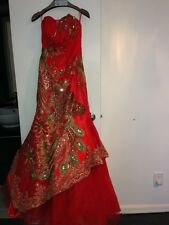 Independent Clothing Co. Modern Red & Gold Chinese Gown Wedding Dress Silk Satin