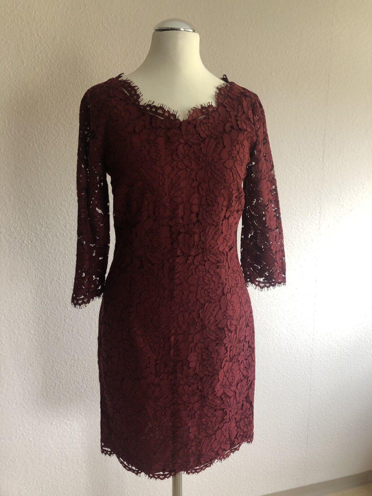 SET Kleid Gr. 34 XS OUISET Oui bordeaux Abendkleid Spitzenkleid Spitze NEU