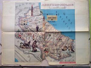 Cartina Del Molise Geografica.Vecchio Poster Scolastico Cartina Geografica Mappa Della Regione Abruzzo Molise Ebay