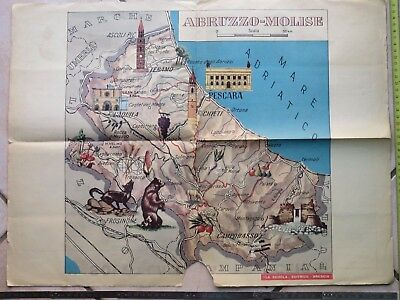 Cartina Della Regione Abruzzo.Vecchio Poster Scolastico Cartina Geografica Mappa Della Regione Abruzzo Molise Ebay