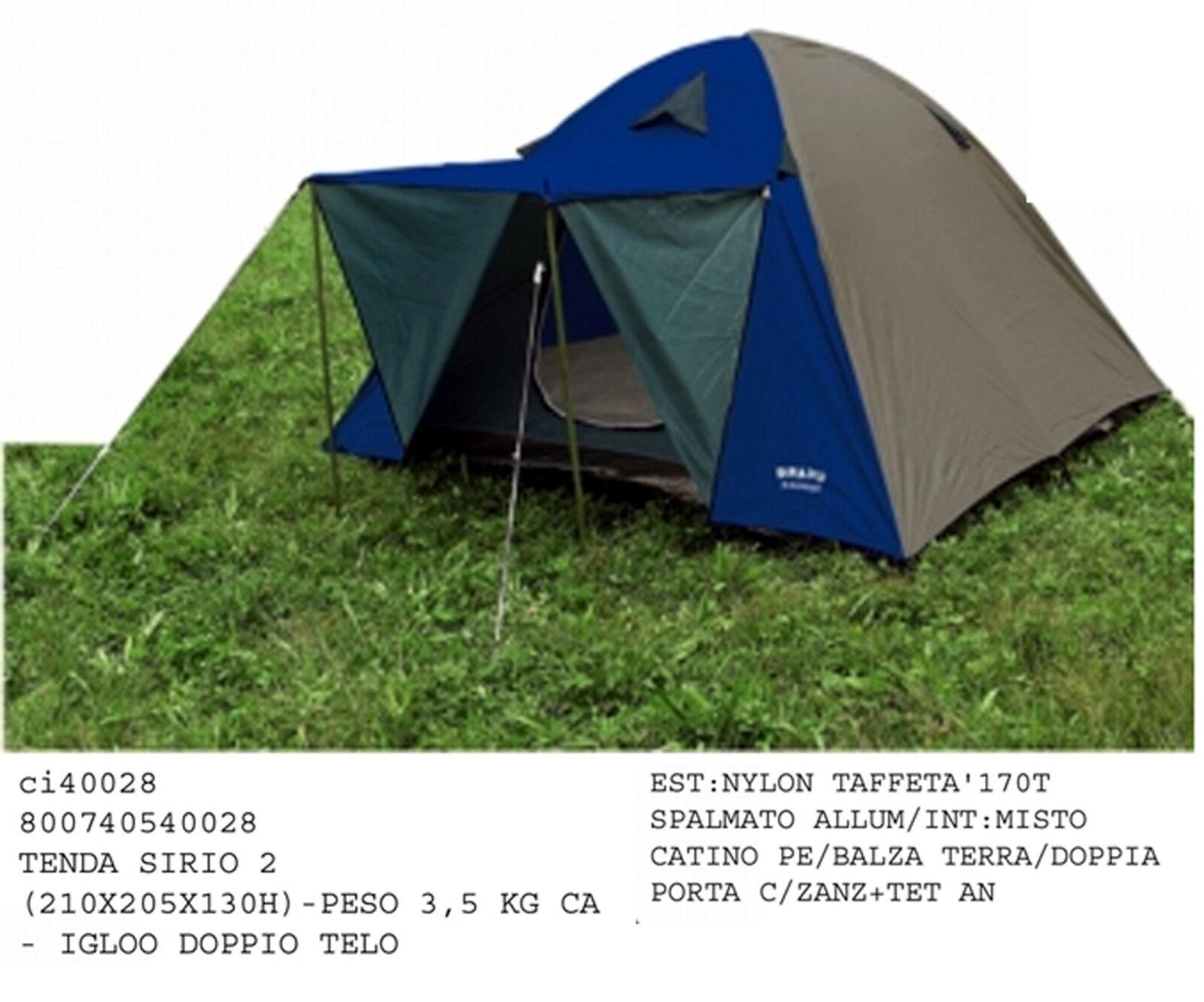 Tenda iglu escursione campeggio SIRIO 2 doppio telo e balconcino peso 3,5 kg