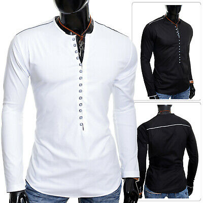 ZuverläSsig Mens Henley Shirt Crew Neck Collarless Long Sleeve Casual Holiday Slim Fit Loops