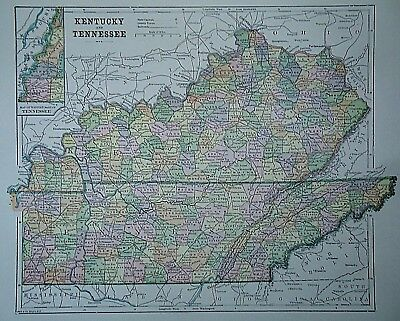 Adroit Vintage 1896 Kentucky North America Maps Tennessee Map Old Authentic Antique Atlas Map 96/70318 We Have Won Praise From Customers