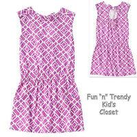 Crazy 8 Girls Size Medium 7-8 Plum Purple Geo Print Dress Open Bow Back