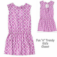 Crazy 8 Girls Size Large 10-12 Plum Purple Geo Print Dress Open Bow Back