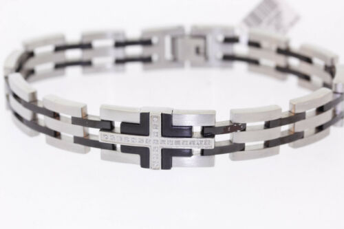 Details about  /Shaquille O/'Neal .10ctw Genuine Diamond Two-Tone Stainless Steel Cross Bracelet