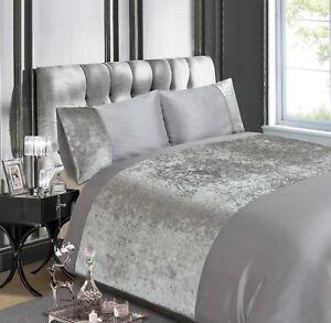RAPPORT-lusso-velluto-schiacciato-Quilt-Cover-Argento-Set-di-biancheria-da-letto-Gratis-P-amp-P