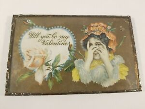 Antique Early 1900s Valentine's Postcard Framed Great piece of American Ephemera