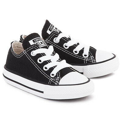 CONVERSE ALL STAR LOW CHUCK 7J235 BLACK WHITE INFANT SHOES SIZE 5 6 7 8 9 10