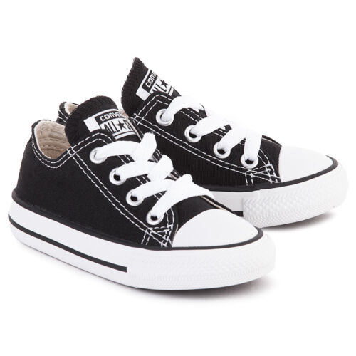 Converse All Star Chuck OX 7J235 Canvas Black Kids Baby Toddler Shoes
