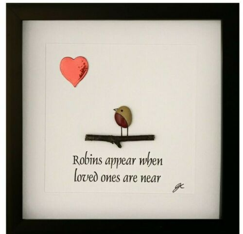 Pebble Art Personalised Sympathy Memorial Robins Appear When Loved Ones Are Near