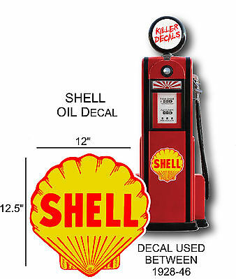 "12.5"" 1928-46 SHELL GASOLINE DECAL FOR OIL CAN / GAS PUMP / LUBSTER"