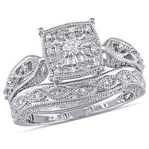 Sterling Silver 1/5 ct TDW Diamond Bridal Ring Set H-I I2-I3