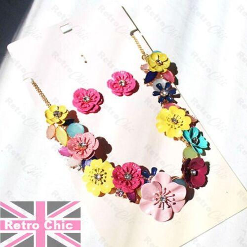RETRO MULTI FLOWER enamelled metal CRYSTAL flowers NECKLACE EARRINGS SET vintage