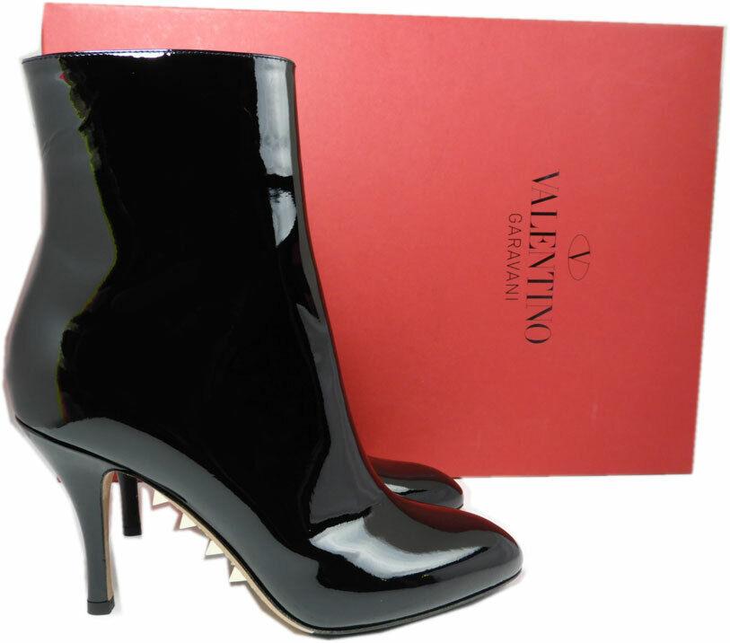1295 Valentino Garavani Rockhingst stövlar Killer svart Patent Leather Kängaies 38.5