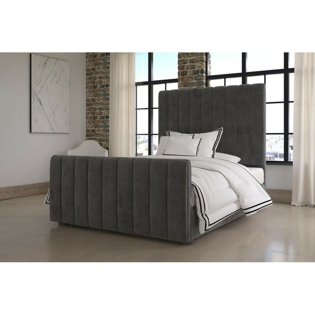 Velvet Upholstered Platform Bed With High Profile Panel Headboard Full Size For Sale Online