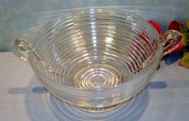 Crystal Depression Glass Anchor Hocking Manhattan Large Handled Bowl 9 inch