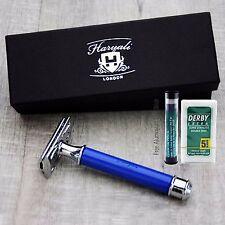 Blue Double Edge Safety Razor + blades | Men's Shaving & Grooming | Gift for Him