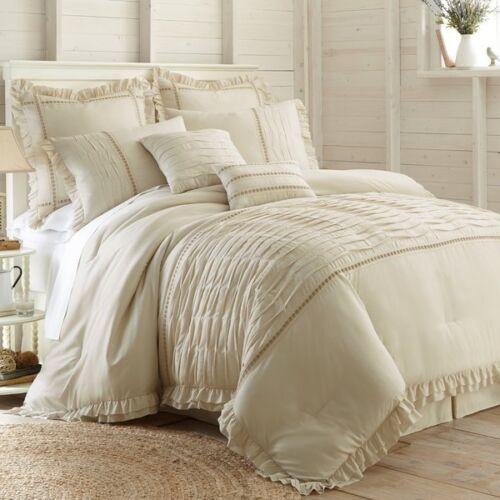 QUEEN Size Cream Sand Farmhouse 8-Piece Comforter Set  Beige Tan Shabby Bedding