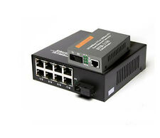 Fiber Optical Media Converter 1 SC port 8 port RJ45 + 1 SC port 1 RJ45 1 Pair