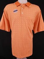 Mens Towncraft Quick Dry 1/4 Button Cotton Shirt Large Orange Short Sleeve