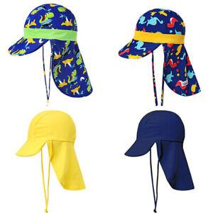 0e78e673a Details about Kid Boy Girl Swim Caps Baby Sun Safe Sporty Flap Swim UV+50  Flap Hat Pool TEUS