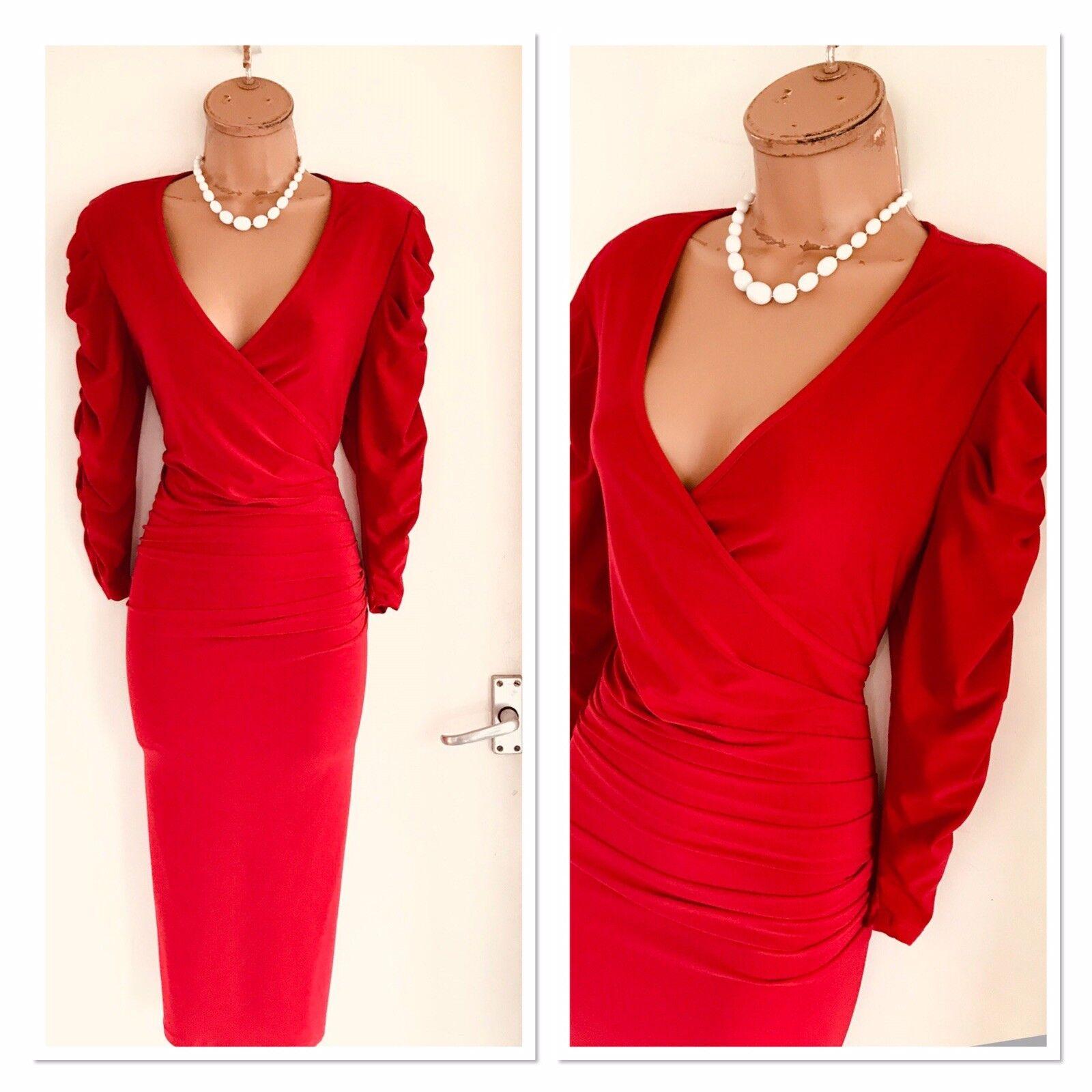 6079103384f08a Beautiful FRANK LYMAN rot Gatherot Rruched Sleeves Dress Uk 14 Bodycon  nwinbg1028-Kleider
