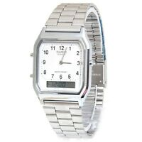 Casio AQ230A-7B Mens Stainless Steel Analog Digital Watch Dual Time Alarm NEW