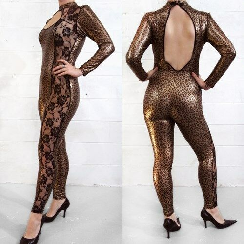 Sexy Cat Suit Costume Leopard Lace Key Hole Open Back/Feet Long Sleeve New USA
