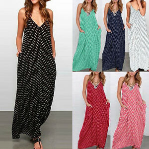 Sommer-Damen-Freizeit-Locker-Punkten-Spaghetti-Band-V-Hals-lang-Maxi-Party