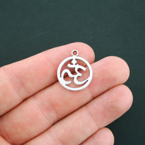 SC1295 8 Om Charms Antique Silver Tone Open Circle