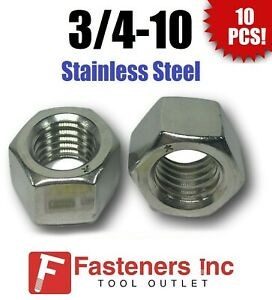 Stainless Steel 18-8 Finished Hex Nuts 50, 10-24