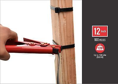"12"" Black Zip Ties Heavy Duty 120lbs Nylon Uv Ul Bulk Lot Cable Strap Wrap 120lb"