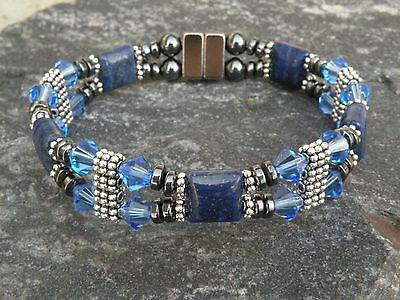 Magnetic Hematite Bracelet Anklet 3 Lapis Lazuli Gemstone 10x15mm Healing Stone