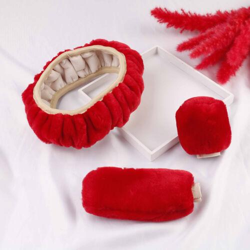 3Pcs//set Winter red soft warm plush car steering wheel cover handbrake covers Hy