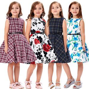 092888de6 Kids Girl Princess Vintage Flower 50s Style Floral Swing Party ...